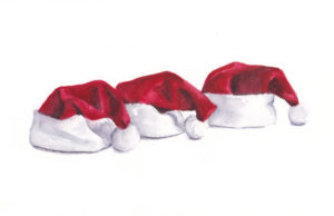 3 Santa Hats - the Third Day of Christmas watercolor by artist Esther BeLer Wodrich