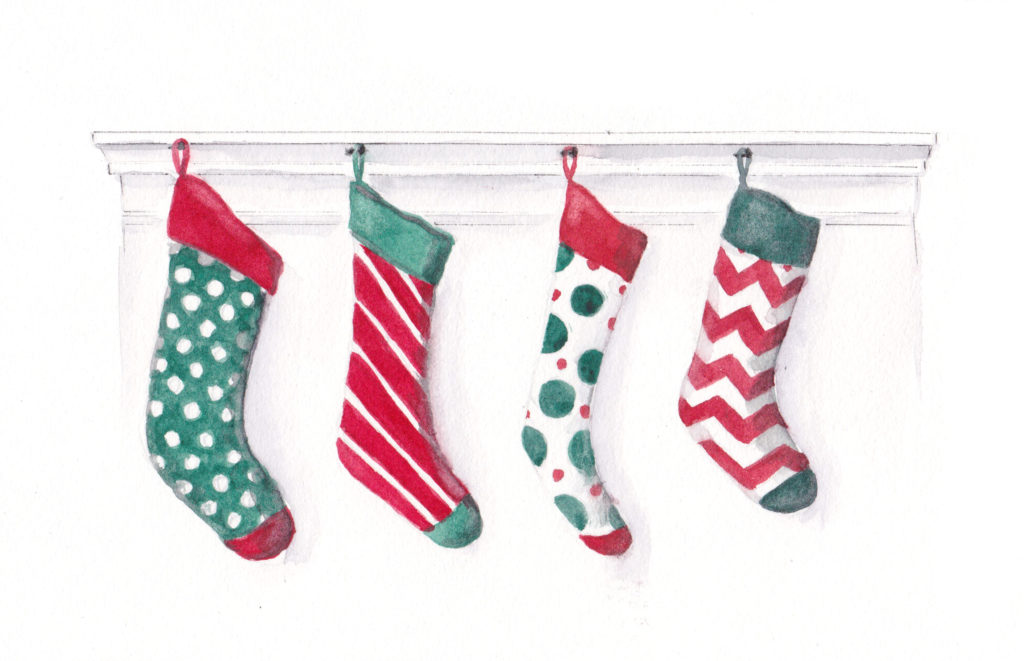 4 Hanging Stockings - the Fourth Day of Christmas watercolor by artist Esther BeLer Wodrich