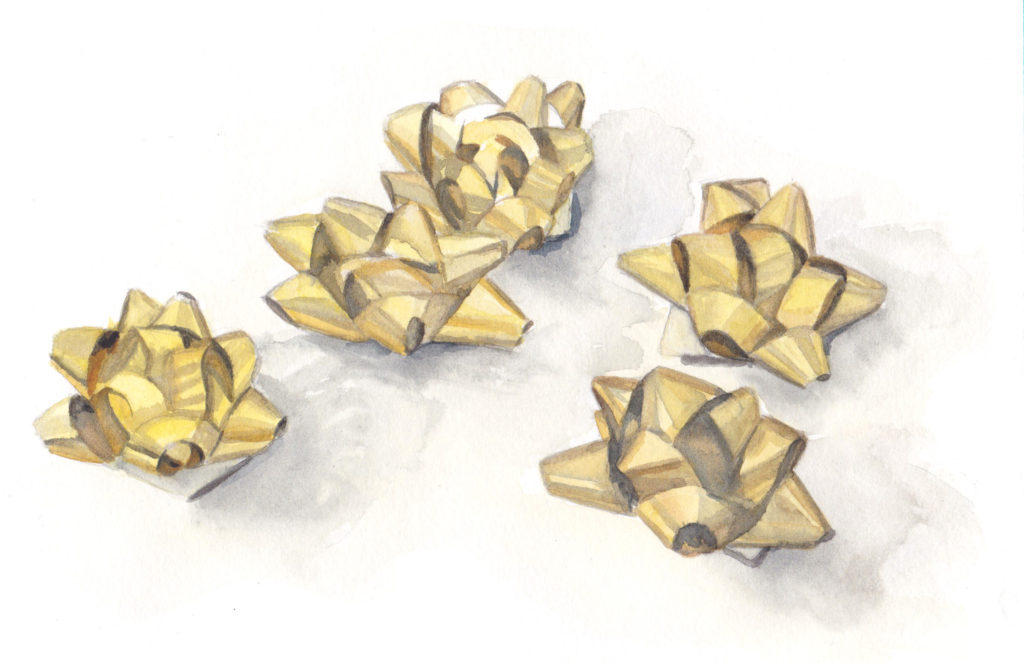 5 Golden Bows - the Fifth Day of Christmas watercolor by artist Esther BeLer Wodrich