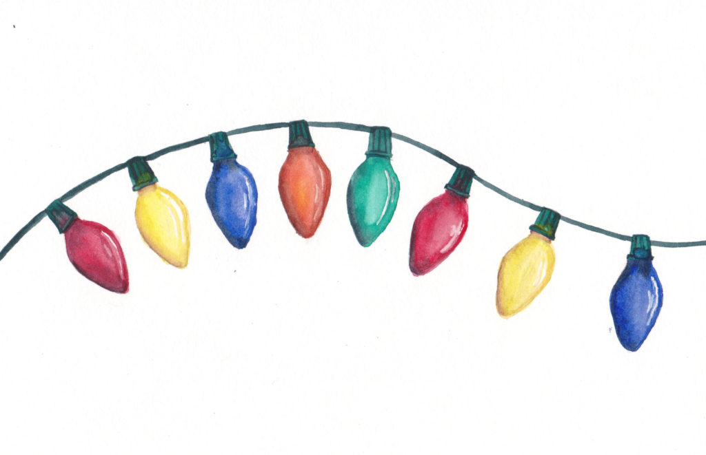 8 Colorful Lights - the Eighth Day of Christmas watercolor by artist Esther BeLer Wodrich