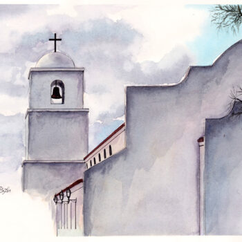 """Clouds Over King of Kings"" is a watercolor, pen and ink of part of the back side of King of Kings church in Goodyear, Arizona by artist Esther BeLer Wodrich."