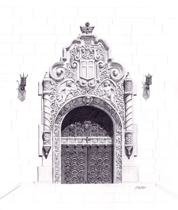"""First Presbyterian Entrance"" is a graphite pencil drawing of the entrance to the historic First Presbyterian church in downtown Phoenix, Arizona by artest Esther BeLer Wodrich"