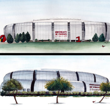 """Cardinal's Stadium"" is a 2 part architecture watercolor, pen and ink painting of the front and back side of the Arizona Cardinal's Football stadium in Glendale, AZ by artist Esther BeLer Wodrich"