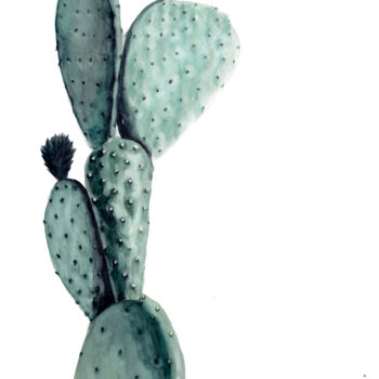 """Opuntia"" is a watercolor painting of an Opuntia Ficus-Indica variety of prickly-pear cactus by artist Esther BeLer Wodrich"