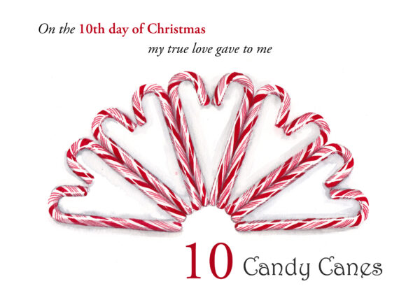 The 10th folded card in a set of the 12 Days of Christmas, 10 Candy Canes