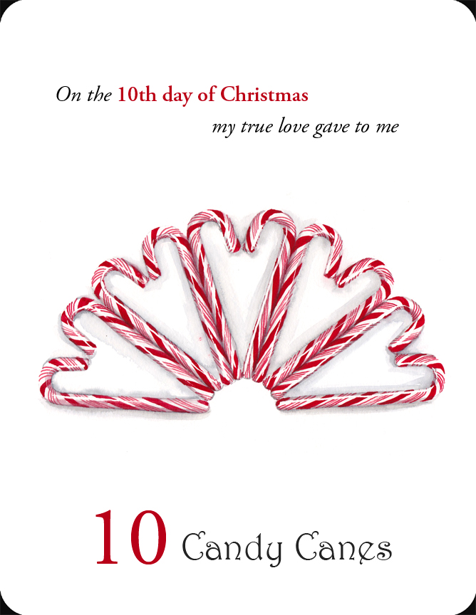 The 10th in a set of the 12 Days of Christmas, 10 Candy Canes