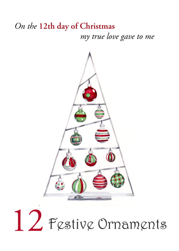 The 12th in a set of the 12 Days of Christmas 5x7 Christmas Cards, 12 Festive Ornaments