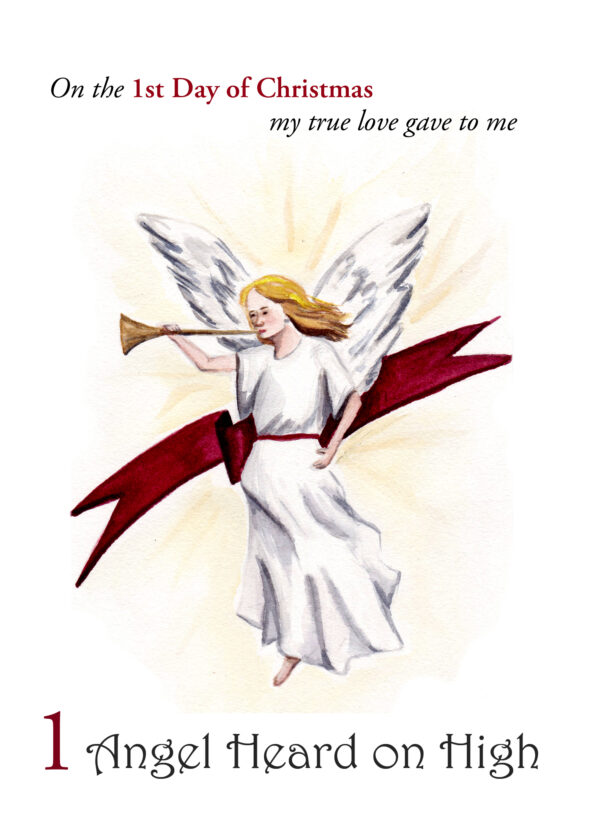 The first folded card in a set of small prints for the 12 Days of Christmas - 1 Heralding Angel