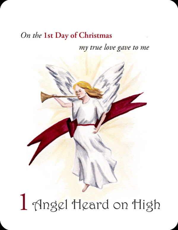 The first in a set of small prints for the 12 Days of Christmas - 1 Heralding Angel