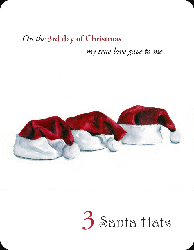The 3rd in a set of the 12 Days of Christmas, 3 Santa Hats
