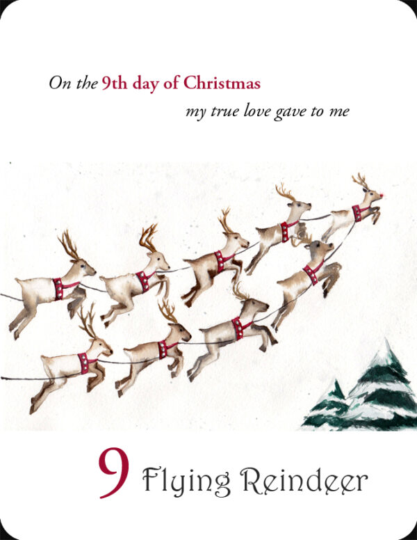 The 9th in a set of the 12 Days of Christmas, 9 Flying Reindeer