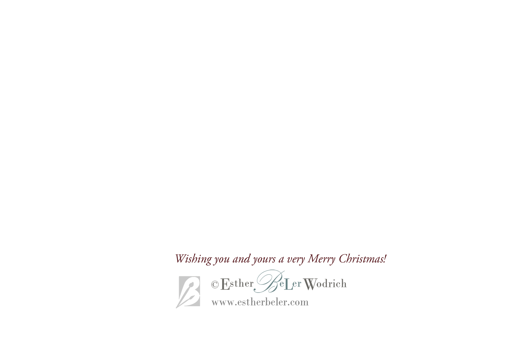 Logo for back side of Christmas Cards by artist Esther BeLer Wodrich