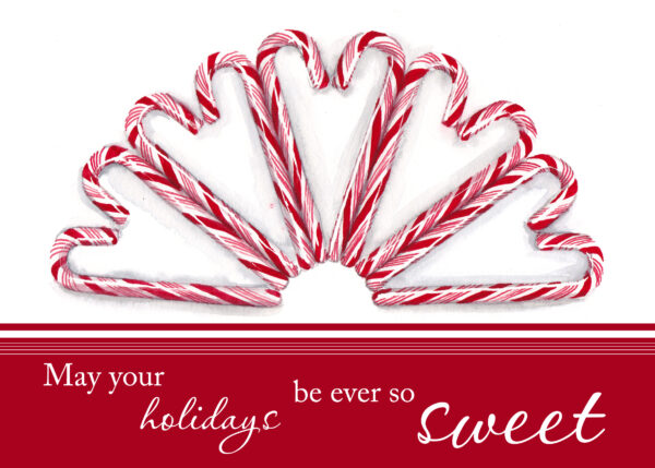 Candy canes are painted in watercolor and printed onto premium cardstock for a set of 12 greeting cards by artist Esther BeLer Wodrich