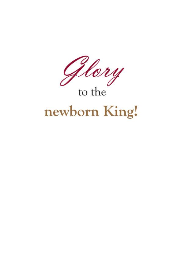 "Christmas card insert saying ""Glory to the newborn King!"""