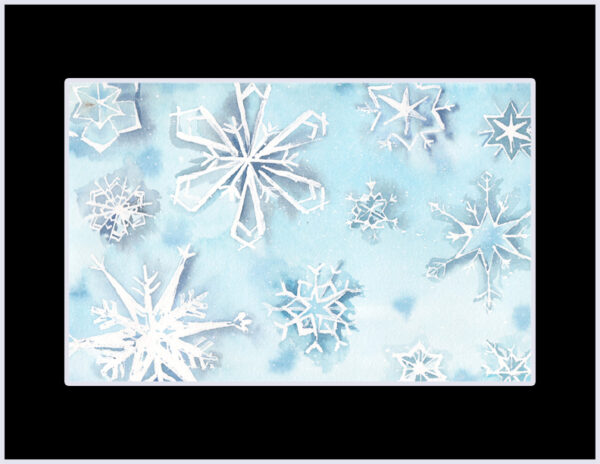 """11 Falling Snowflakes"" is an original watercolor of snowflakes on a blue background from the 12 Days of Christmas series by artist Esther BeLer Wodrich"