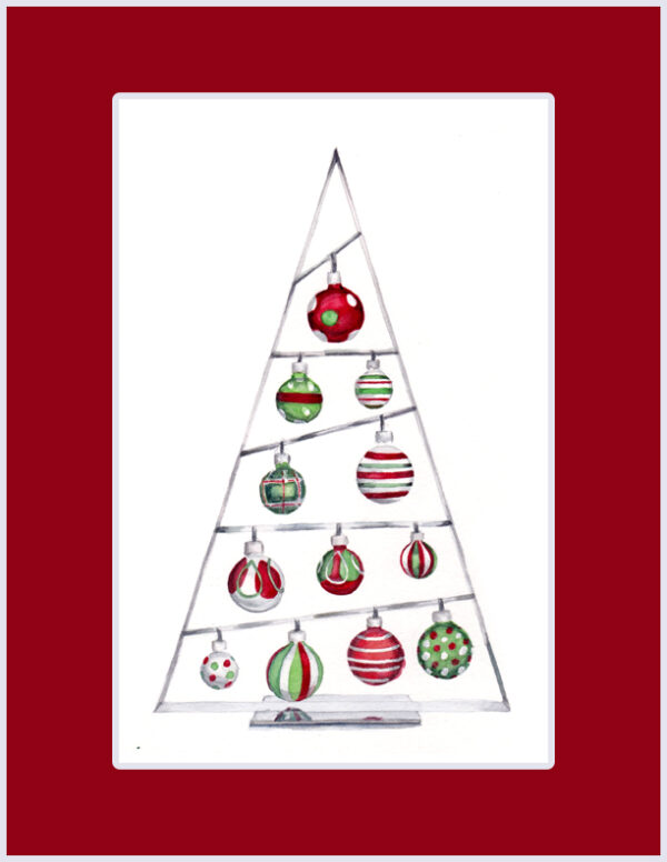 Original Christmas watercolor of 12 Shiny Ornaments from the 12 days of Christmas series by artist Esther BeLer