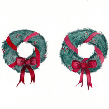 """2 Christmas Wreaths"" is an original watercolor of 2 wreaths with greenery and red bowsfrom the 12 Days of Christmas series by artist Esther BeLer Wodrich"