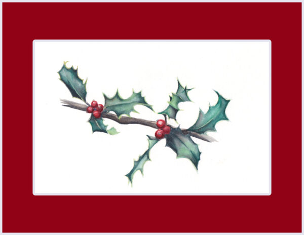 """""""7 Holly Leaves"""" is an original Christmas watercolor of a holly leaves and berries from the 12 Days of Christmas series by artist Esther BeLer Wodrich"""