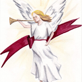 """1 Heralding Angel"" is an original watercolor of an angel with red sash and trumpet from the 12 Days of Christmas series by artist Esther BeLer Wodrich"