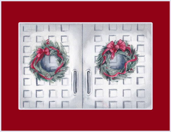 """Christmas Doors"" is an original watercolor of 2 greenery wreaths and red bows hung on grey doors by artist Esther BeLer Wodrich"