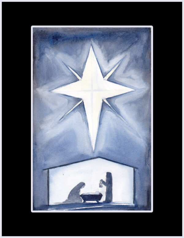 """O Holy Night"" is an original Christmas watercolor of a silhouetted manger scene of the night of Jesus birth by artist Esther BeLer Wodrich"