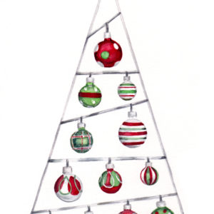 "Original Christmas watercolor of ""12 Shiny Ornaments"" from the 12 days of Christmas series by artist Esther BeLer Wodrich"