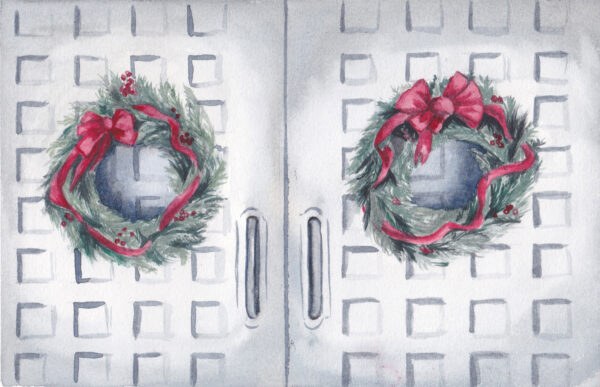 """Christmas Doors"" is an original watercolor of 2 greenery wreaths and red bows hung on grey doors"