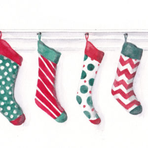 """4 Hanging Stockings"" is an original watercolor of stockings hung on a fireplace from the 12 Days of Christmas series by artist Esther BeLer Wodrich"