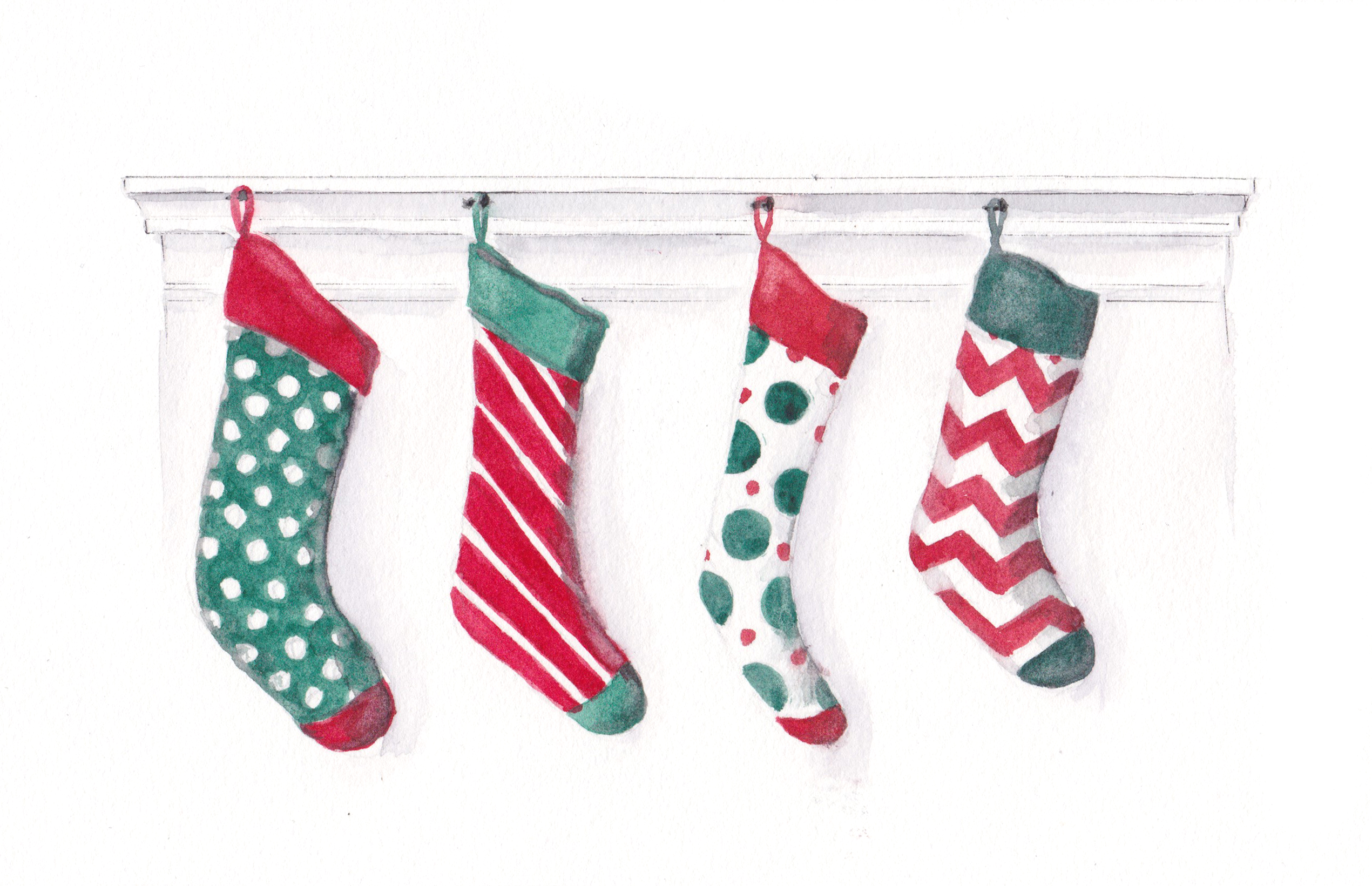 4 Hanging Stockings Original Watercolor Esther Beler Wodrich