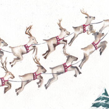 """9 Flying Reindeer"" is an original Christmas watercolor of 9 flying reindeer from the 12 Days of Christmas series by artist Esther BeLer Wodrich"