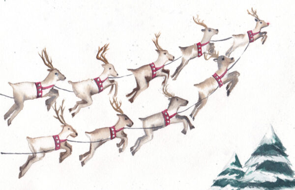"""9 Flying Reindeer"" is an original Christmas watercolor of 9 flying reindeer from the 12 Days of Christmas series by artist Esther BeLer Wodrich"