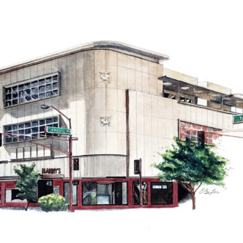 """Hanny's"" is an architecture watercolor pen and ink painting of Hanny's mid-century modern restaurant in downtown Phoenix, Arizona by artist Esther BeLer Wodrich"