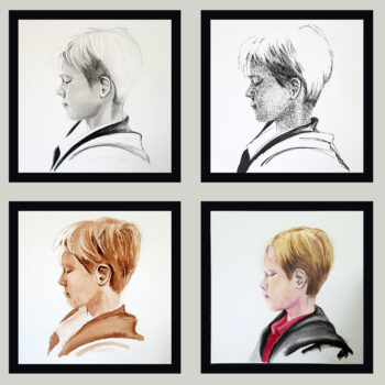 """Process"" is a mixed media 4 part portrait piece by artist Esther BeLer Wodrich"