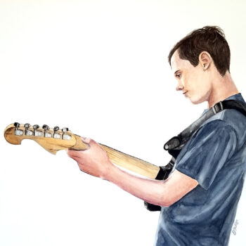 """The Musician"" is a watercolor portrait painting of a youth playing a guitar by artist Esther BeLer Wodrich"