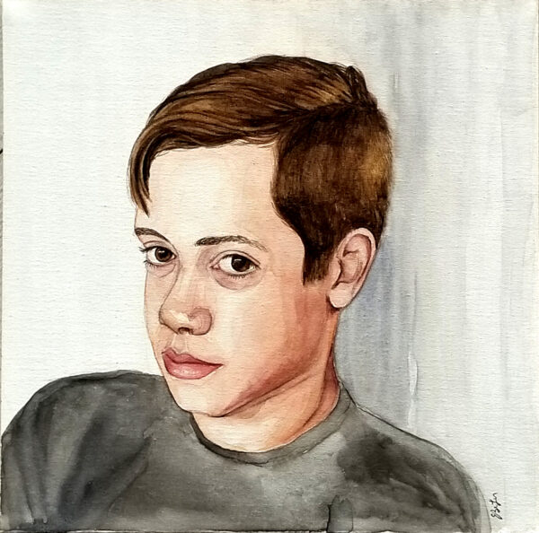 """Christian, Age 13"" is a watercolor portrait painting of a young teen boy by artist Esther BeLer Wodrich"