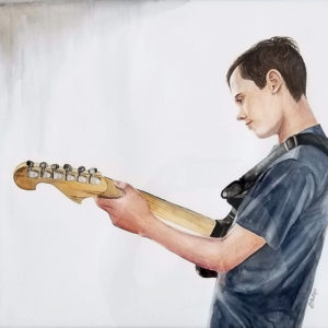 """""""The Guitar Player"""" is a watercolor figurative painting of a youth playing a guitar by artist Esther BeLer Wodrich"""