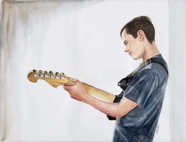 """The Guitar Player"" is a watercolor figurative painting of a youth playing a guitar by artist Esther BeLer Wodrich"