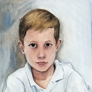 """Peter, Age 7"" is a watercolor portrait painting of a straight faced young boy by artist Esther BeLer Wodrich"