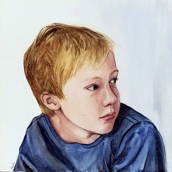"""Thomas, Age 10"" is a watercolor portrait painting of a boy with freckles looking to his left by artist Esther BeLer Wodrich"