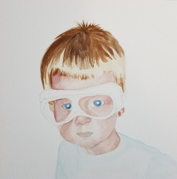 "Early progress shot of watercolor painting on aquabord of painting ""Safety Goggles"""