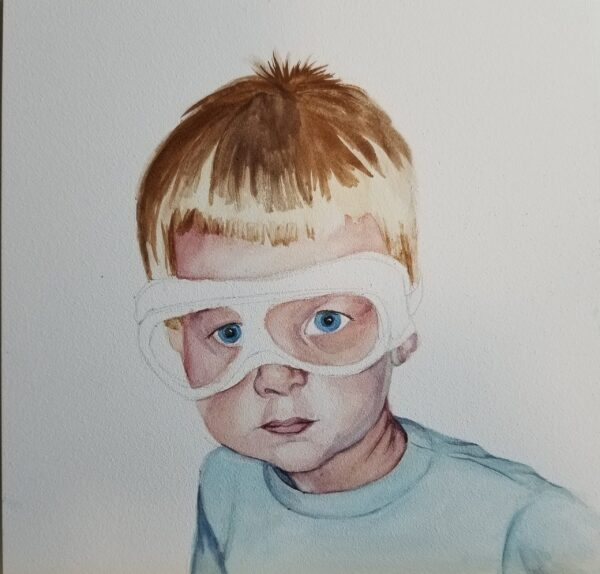"Progress shot of watercolor painting, ""Safety Goggles"" by artist Esther BeLer Wodrich"