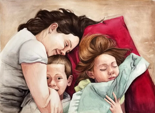 """One Lazy Afternoon"" is a figurative watercolor artwork of a mom and 2 children snuggling by artist Esther BeLer Wodrich"