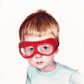 """Safety Goggles"" is a realistic watercolor portrait on aquabord of a young blond boy wearing orange goggles by artist Esther BeLer Wodrich"