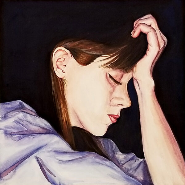 """Exhausted"" is a watercolor portrait on aquabord of a woman/mom in a state of exhaustion by artist Esther BeLer Wodrich"