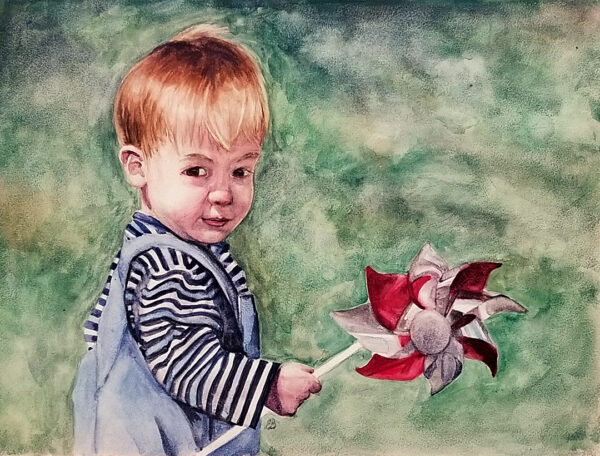 """Pinwheel"" is a watercolor portrait of a toddler boy holding a pinwheel by artist Esther BeLer Wodrich"