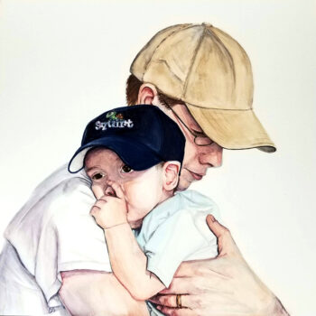 """Squirt"" is a realistic watercolor portrait of father holding his thumb-sucking son on aquabord by artist Esther BeLer Wodrich"