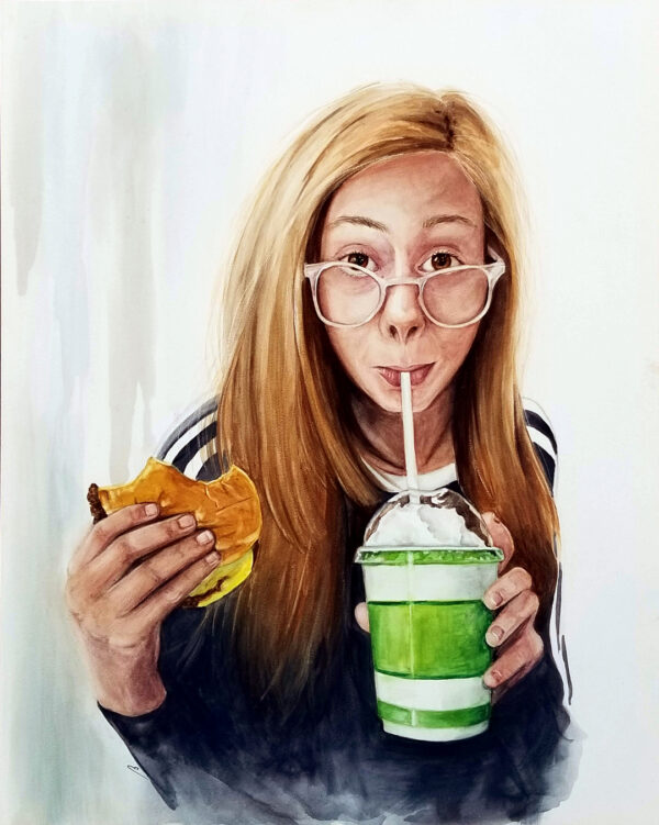 """Burger and a Shake"" is a figurative watercolor on aquabord of a young girl with glasses drinking a milk shake and holding a burger by artist Esther BeLer Wodrich"