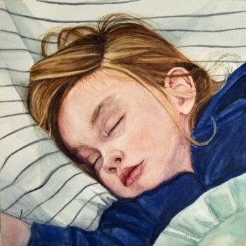 """Sleeping Angel"" is a figurative watercolor portrait on aquabord of a sleeping young girl by artist Esther BeLer Wodrich"