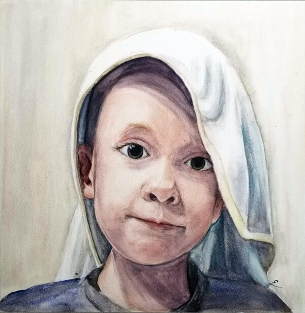 """Superhero"" is a figurative watercolor on aquabord of a young boy with a blanket over his head by artist Esther BeLer Wodrich"