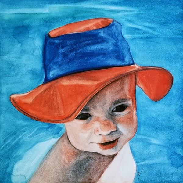 """Little Swimmer"" is a figurative watercolor portrait on Ampersand Aquabord of a young boy in a bright sun hat by artist Esther BeLer Wodrich"